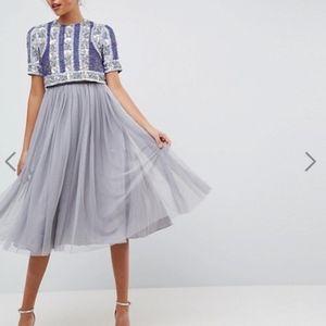ASOS Midi Floral Paneled Tulle Dress